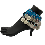 Belly dance wrist band stretchy coin anklets Turquoise