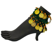 Belly dance wrist band stretchy coin anklets Green Gold