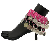 Belly dance wrist band stretchy coin anklets pink