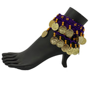 Belly dance wrist band stretchy coin anklets Purple Gold