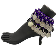 Belly dance wrist band stretchy coin anklets Purple Silver