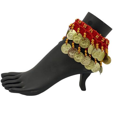 Belly dance wrist band stretchy coin anklets Red Gold