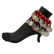 Belly dance wrist band stretchy coin anklets Red Silver