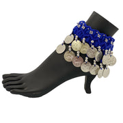 Belly dance wrist band stretchy coin anklets Royal blue