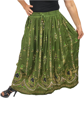Free Size sequined full length skirt olive