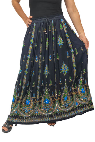 Free Size sequined full length skirt Blue