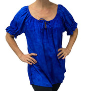 womans renaissance Top peasant top maiden Top blue