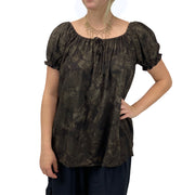 womans renaissance Top peasant top maiden Top Brown