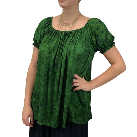 womans renaissance Top peasant top maiden Top  Green