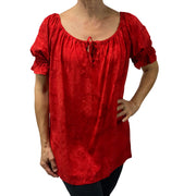 womans renaissance Top peasant top maiden Top Red