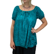womans renaissance Top peasant top maiden Top Teal