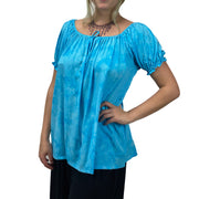womans renaissance Top peasant top maiden Top Turq