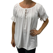 Womans peasant top renaissance top maiden top white