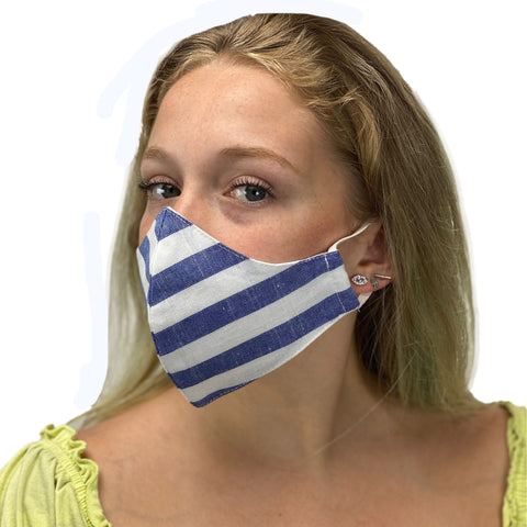 cotton masks light weight masks washable Blue Stripe
