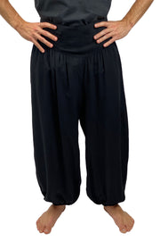 Mens cotton elastic renaissance pants pirate pants Black
