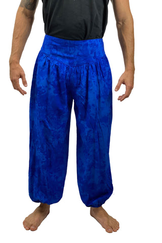 Mens cotton elastic renaissance pants pirate pants Blue