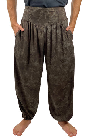 Mens cotton elastic renaissance pants pirate pants Brown
