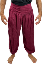 Mens cotton elastic renaissance pants pirate pants Burgundy