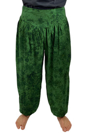 Mens cotton elastic renaissance pants pirate pants Green