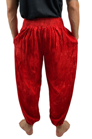 Mens cotton elastic renaissance pants pirate pants back view