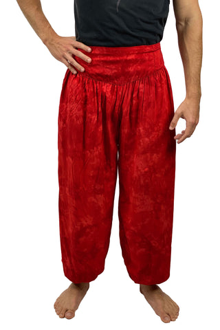 Mens cotton elastic renaissance pants pirate pants Red