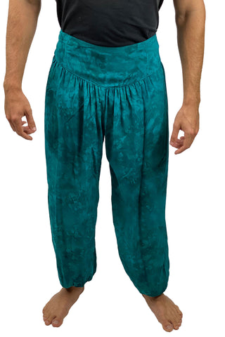 Mens cotton elastic renaissance pants pirate pants teal