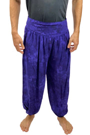 Mens cotton elastic renaissance pants pirate pants Purple