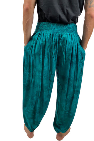 mens renaissance pants pirate pants elastic waist pants Teal