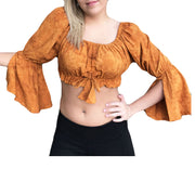 Womans Renaissance Top midriff top pirate top saffron