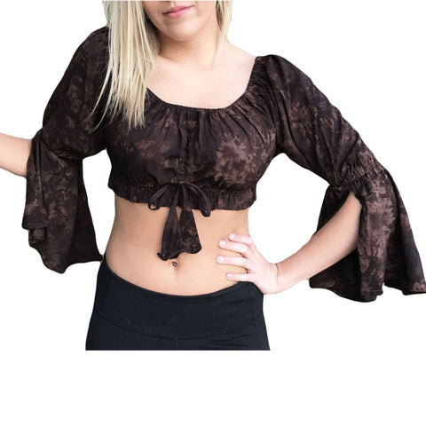 Womans Renaissance Top midriff top pirate top Brown