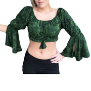 Womans Renaissance Top midriff top pirate top Green