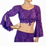 Womans Renaissance Top midriff top pirate top purple
