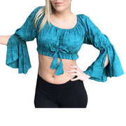 Womans Renaissance Top midriff top pirate top teal