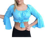 Womans Renaissance Top midriff top pirate top turq