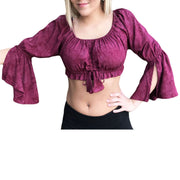 Womans Renaissance Top midriff top pirate top Burgundy