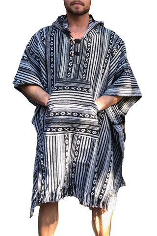 Unisex pancho one size heavy duty Black and White