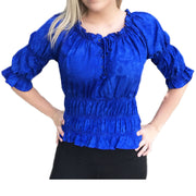 Woman's Pirate Top Renaissance Top Pirate Shirt Blue