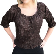 Woman's Pirate Top Renaissance Top Pirate Shirt Brown