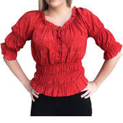 Woman's Pirate Top Renaissance Top Pirate Shirt Red