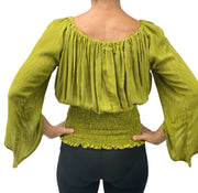 Womans renaissance top pirate top peasant top Lime