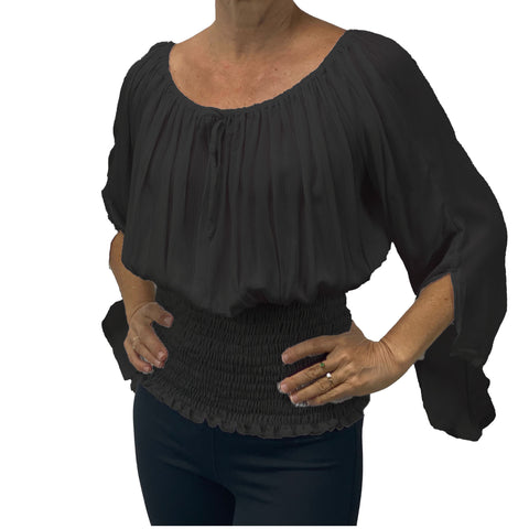 Womans renaissance top pirate top peasant top Black