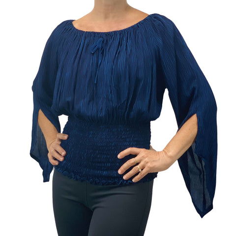 Womans renaissance top pirate top peasant top Navy