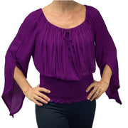 Womans renaissance top pirate top peasant top Purple