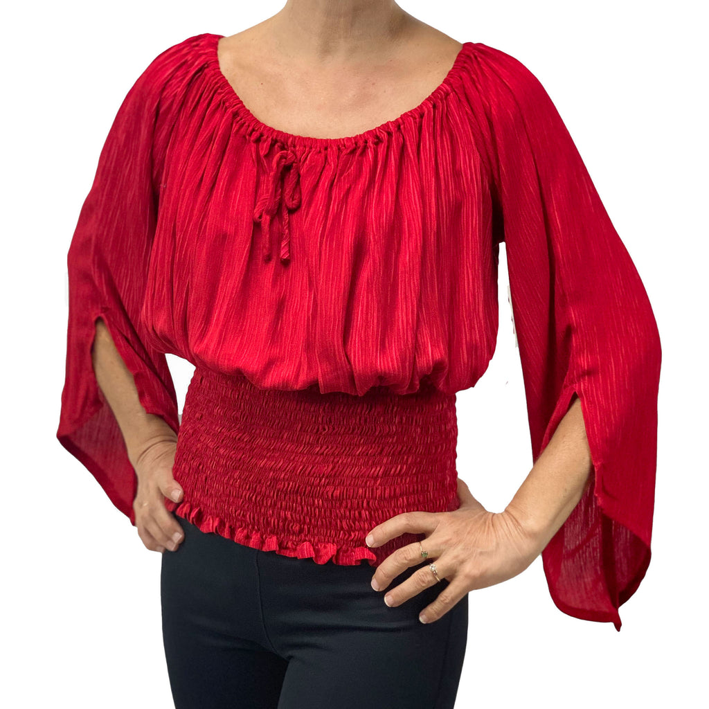 Womans renaissance top pirate top peasant top Red
