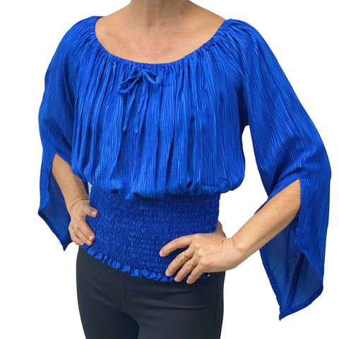 Womans renaissance top pirate top peasant top Royal Blue
