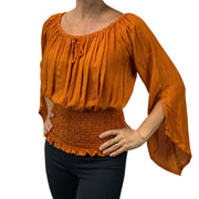 Womans renaissance top pirate top peasant top saffron