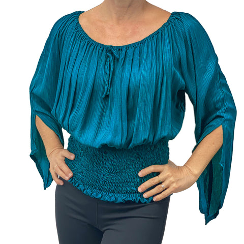 Womans renaissance top pirate top peasant top Teal