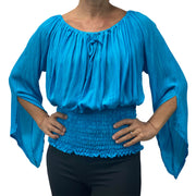 Womans renaissance top pirate top peasant top Turquoise