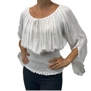 Womans renaissance top pirate top peasant top white