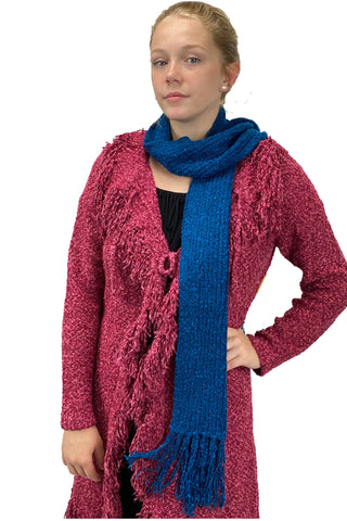 knit wool acrylic scarf blue